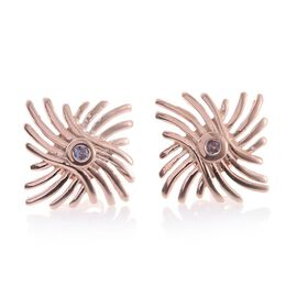 Tanzanite (Rnd) Earrings (with Push Back) in Rose Gold Overlay Sterling Silver