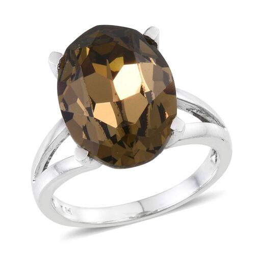 Crystal from Swarovski - Smoky Quartz Colour Crystal (Ovl) Ring in ION Plated Platinum Bond