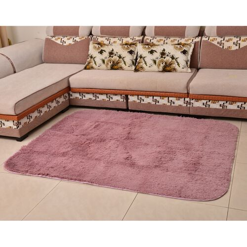 Plush Dusk Rug: Super-Plush Extra-Long Pile Dusk Pink Colour YETI Bed-Side