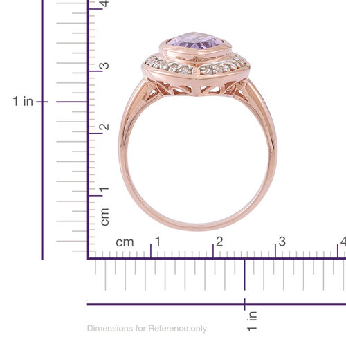 Rose De France Amethyst (Mrq 5.00 Ct), White Zircon Ring in 14K Rose Gold Overlay Sterling Silver 5.500 Ct.