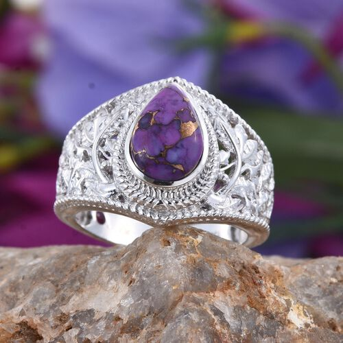Royal Jaipur Purple Mojave Turquoise (Pear 3.98 Ct), Burmese Ruby Ring in Platinum Overlay Sterling Silver 4.000 Ct.