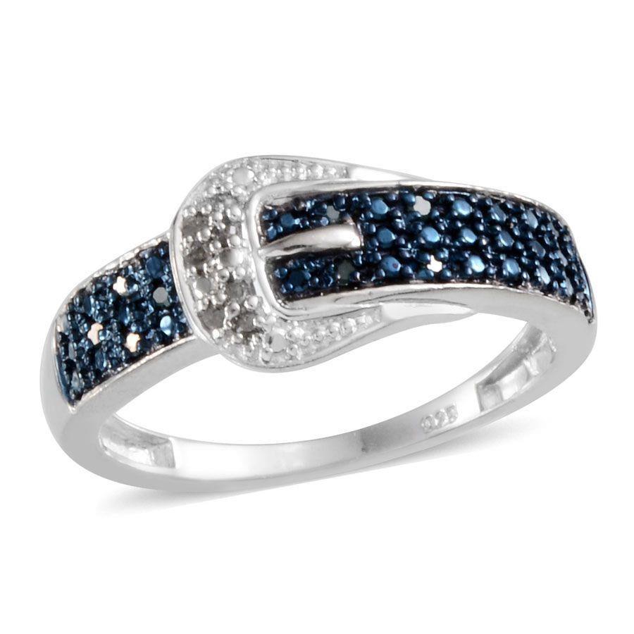 Blue Diamond Platinum: Blue Diamond (Rnd), Diamond Buckle Ring In Platinum