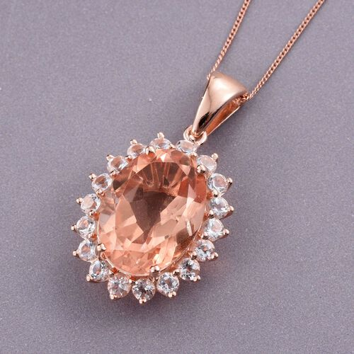 Galileia Blush Pink Quartz (Ovl), White Topaz Pendant With Chain in Rose Gold Overlay Sterling Silver 15.750 Ct.