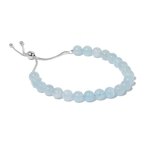 Espirito Santo Aquamarine Adjustable Ball Beads Bracelet (Size 6.5 to 8.5) in Rhodium Plated Sterling Silver 60.000 Ct.