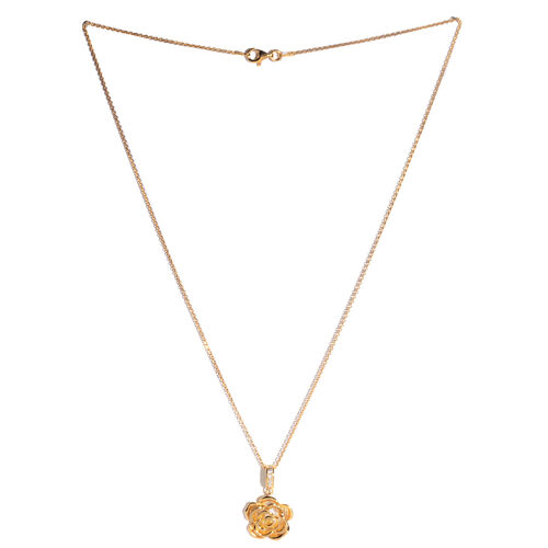 JCK Vegas Collection Austrian Crystal (Rnd) Floral Pendant With Chain in 14K Gold Overlay Sterling Silver, Silver wt 5.00 Gms.
