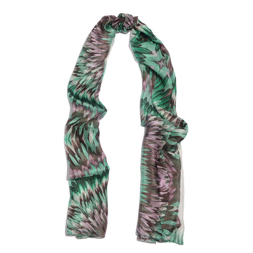 Close Out Deal- 100% Mulberry Silk Green, Pink and Multi Colour Hand Screen Printed Scarf (Size 180x100 Cm)