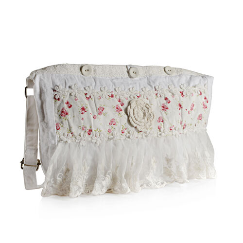 100% Cotton Floral Embroidered White Colour Shoulder Bag with Lace (Size 35x30 Cm)