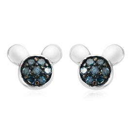 Blue Diamond Mickey Mouse Face Stud Earrings (with Push Back) in Platinum and Black Rhodium Plated Sterling Silver