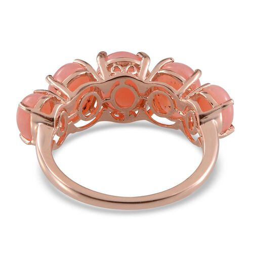 Peruvian Pink Opal (Ovl 1.15 Ct) Half Eternity Ring in Rose Gold Overlay Sterling Silver 4.400 Ct.