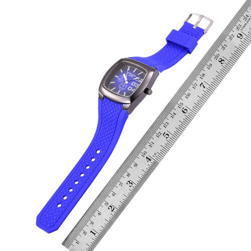 STRADA Japanese Movement Dark Blue Colour Sunshine Pattern Dial Water Resistant Watch in Black Tone with Stainless Steel Back and Dark Blue Silicone Strap