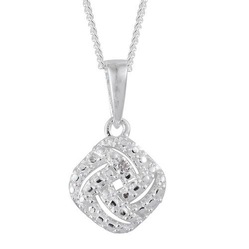 Diamond (Rnd) Pendant with Chain in Sterling Silver