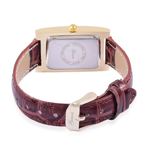 GENOA Japanese Movement Abalone Shell Dial Water Resistant Watch in Yellow Gold Tone with Stainless Steel Back and Mahogany Colour Strap
