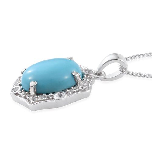 Arizona Sleeping Beauty Turquoise (Ovl 3.00 Ct), Natural Cambodian Zircon Pendant with Chain in Platinum Overlay Sterling Silver 3.250 Ct.