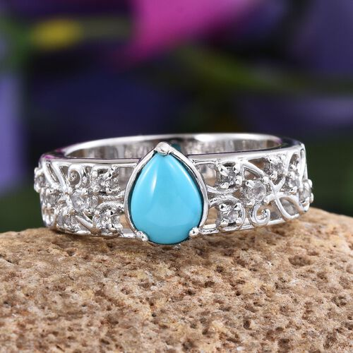 Arizona Sleeping Beauty Turquoise (Pear 0.75 Ct), White Topaz Ring in Platinum Overlay Sterling Silver 1.000 Ct.