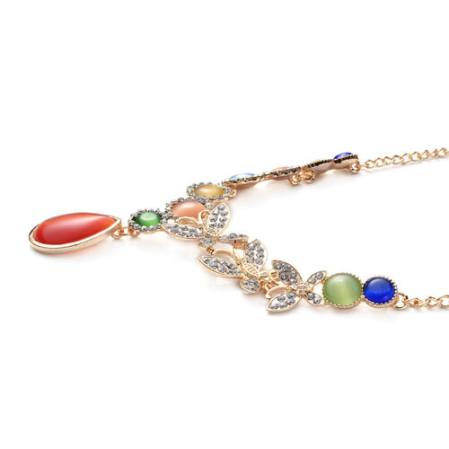 Simulated Cats Eye Green, Light Blue, Yellow, Orange, Dark Blue, Red and White Austrian Crystal Necklace (Size 20) in Gold Tone