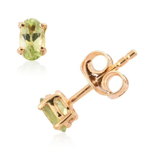 Set of 3 - Garnet, Peridot and Amethyst 1.25 Ct Silver Solitaire Stud Earrings in Gold Overlay