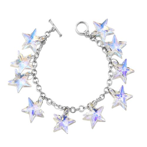 Signature Collection -SNOWFLAKE CUT J Francis Crystal from Swarovski - AB Colour Charm Bracelet (Size 7.5) in Rhodium Plated Sterling Silver