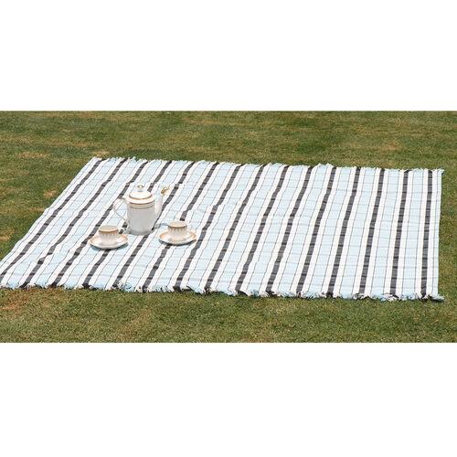 100% Cotton Bedspread/Sofa Protector Blue, Black and White Colour Tartan Check (Size 240x150 Cm)