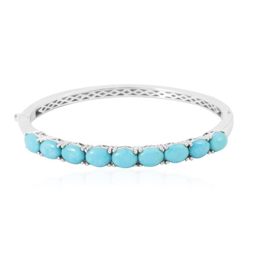 SLEEPING BEAUTY TURQUOISE (6.25 Ct) Platinum Bond Brass Bangle (Size 7.5)  6.250  Ct.