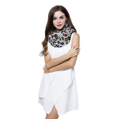 Designer Inspired- Grey, Red and Multi Colour Leopard Pattern Infinity Scarf (Size 75X24 Cm)