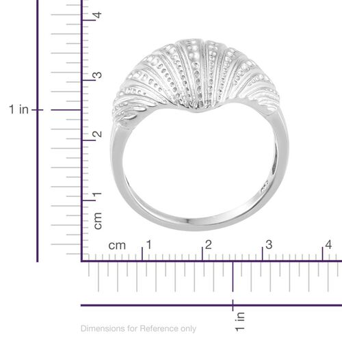 Platinum Overlay Sterling Silver Shell Ring, Silver wt 6.50 Gms.