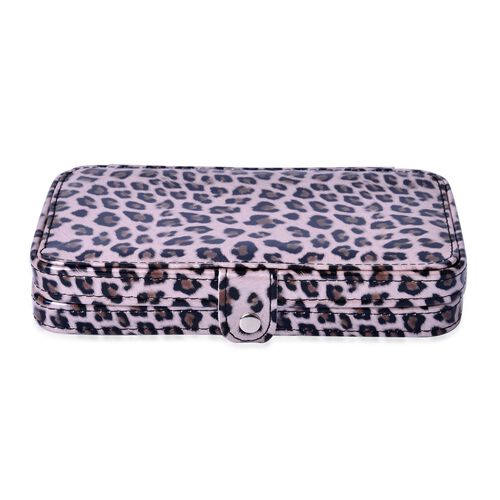 Chocolate and White Colour Leopard Pattern Manicure Kit and Makeup Brushes (18 Pcs) with Mirror