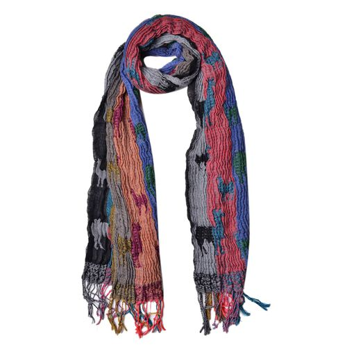 Blue, Green and Multi Colour Camel Pattern Scarf with Tassels (Size 170X30 Cm)