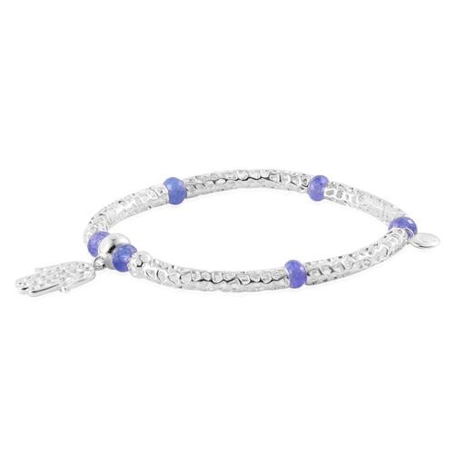 RACHEL GALLEY Sterling Silver Stranded Hand of Hamsa Bar Stretchable Bracelet with Tanzanite Beads (Size 7.75) 7.902 Ct., Silver wt 13.17 Gms.