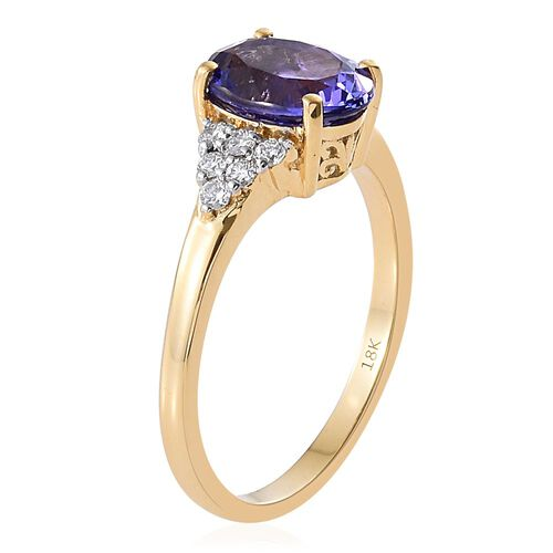 ILIANA 18K Yellow Gold AAA Tanzanite (Ovl 2.75 Ct), Diamond (SI/G-H) Ring 3.000 Ct.