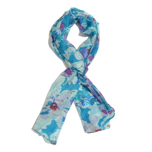 SILK MARK- Made In Kashmir 100% Mulberry Silk Blue, Green and Multi Colour Abstract Pattern Scarf (Size 170x50 Cm)
