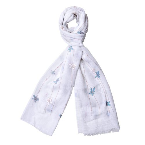 Designer Inspired- Blue and White Colour Chrysanthemum Floral Pattern Scarf (Size 180x70 Cm)