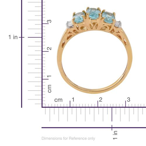 Paraiba Apatite (Ovl), Diamond Ring in 14K Gold Overlay Sterling Silver 1.500 Ct.