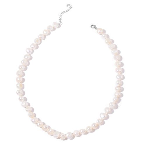 Double Shine Fresh Water White Organic Pearl (9mm- 10 mm) Necklace (Size 18 with Extender) in Sterling Silver