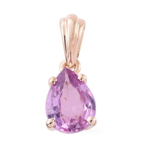 9K Rose Gold AA Pink Sapphire (Pear) Solitaire Pendant 1.150 Ct.
