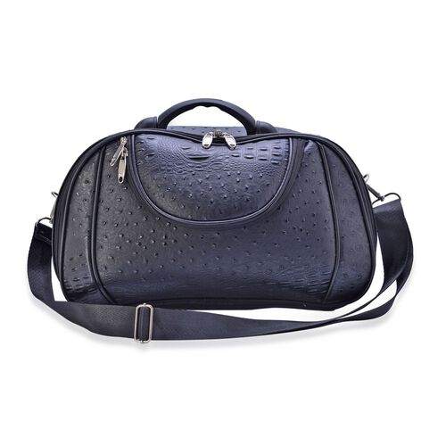 Black Colour Ostrich Pattern Weekend Bag with External Zipper Pocket and Adjustable and Removable Shoulder Strap (Size 37x23.5x14 Cm)