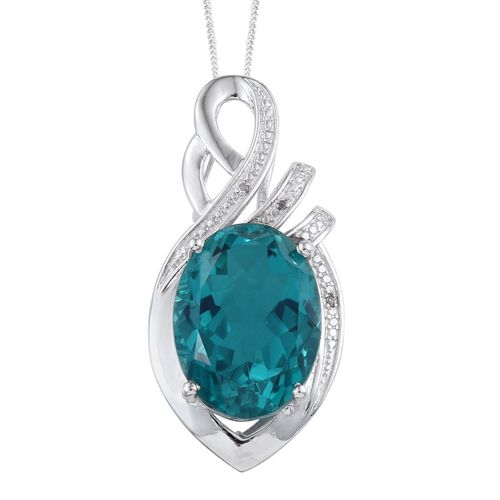 Capri Blue Quartz (Ovl 18.00 Ct), Diamond Pendant With Chain in Platinum Overlay Sterling Silver 18.020 Ct.