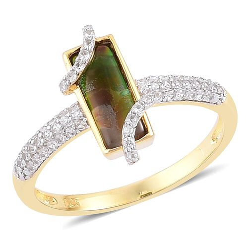 AA Canadian Ammolite (Bgt 1.25 Ct), White Zircon Ring in Yellow Gold Overlay Sterling Silver 1.680 Ct.