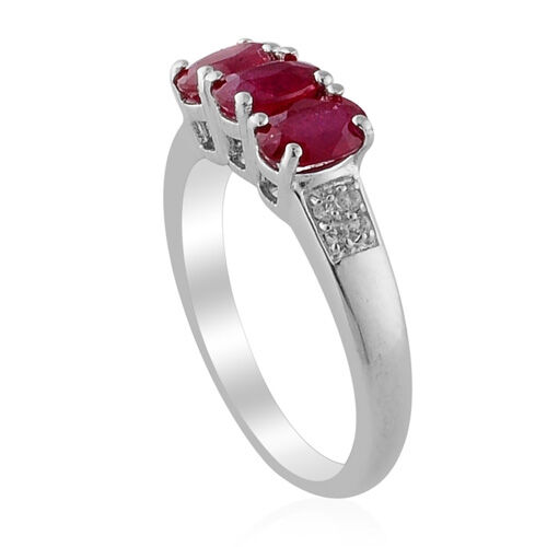 African Ruby (Ovl) White Topaz Ring in Platinum Overlay Sterling Silver  1.751 Ct.