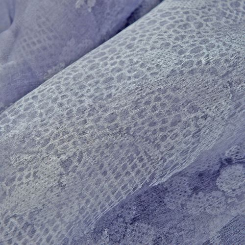 100% Silk Blue and Silver Self Printed Scarf (Size 180x50 Cm)