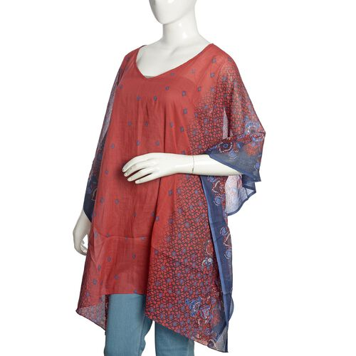 100% Cotton Red, Blue and Multi Colour Printed Kaftan (Free Size)