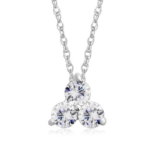 9K White Gold 0.50 Ct Diamond Trilogy Pendant With Chain (Size 18)