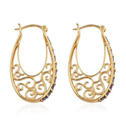 Tanzanite (Rnd) Hoop Earrings (with Clasp Lock) in 14K Gold Overlay Sterling Silver 2.500 Ct.