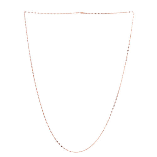 Rose Gold Overlay Sterling Silver Diamond Cut Oval Link Chain (Size 30), Silver wt 3.90 Gms.
