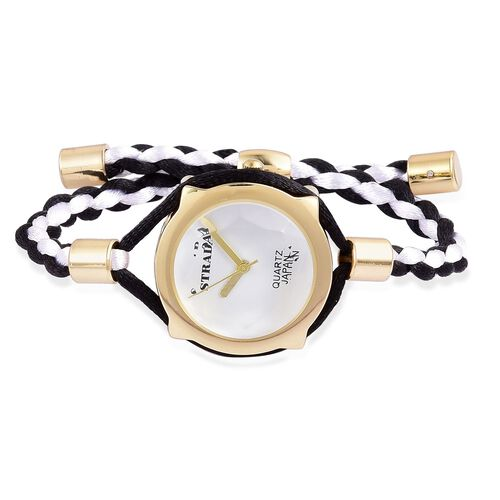 STRADA Japanese Movement White Dial Water Resistant Adjustable Bracelet Watch in Gold Tone with Stainless Steel Back and Lace Strap