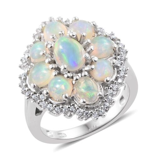Ethiopian Welo Opal (Ovl), Natural Cambodian Zircon Ring in Platinum Overlay Sterling Silver 2.500 Ct.