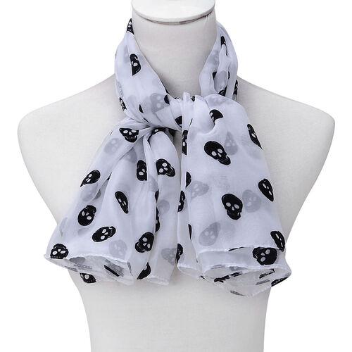 Black Colour Skull Printed White Colour Scarf (Size 95x95 Cm)