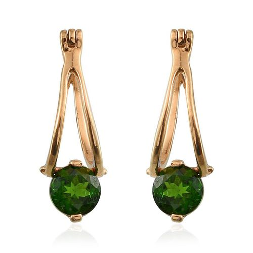 Russian Diopside (Rnd) Earrings in 14K Gold Overlay Sterling Silver 1.500 Ct.