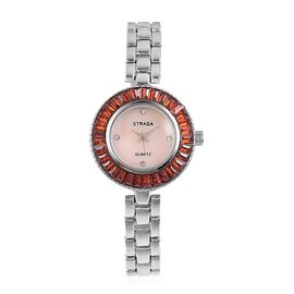 STRADA Japanese Movement Pink MOP Dial with White Austrian Crystal Studded and Simulated Fire Opal Water Resistant Watch in Silver Tone with Chain Strap