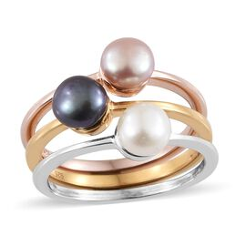 Set of 3 - Fresh Water Peacock Pearl, Pink Pearl and White Pearl (Rnd 5 - 5.5mm), Ring in 14K Gold, Rose Gold and Platinum Overlay Sterling Silver.