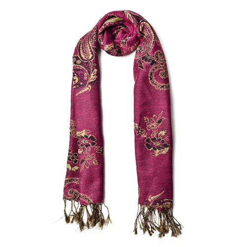 New Season-Gold and Multi Colour Floral and Leaves Pattern Pink Colour Scarf with Tassels (Size 170x70 Cm)